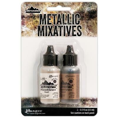 ~ PEARL & COPPER ~ Tim Holtz Alcohol Ink METALLIC Mixatives ~ 2 x 14ml