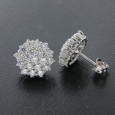 2.20ct Round Cut Diamond Cluster Stud Earrings 14k Solid White Gold For Women's