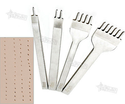 2paar 4mm Prongs Tool Leder Leather Craft Stitching Lacing Chisel Punch Kit