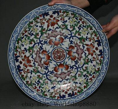 """15.4"""" Chinese Famille Rose Porcelain Dynasty Bat Peach Flower Plate Tray Screen"""