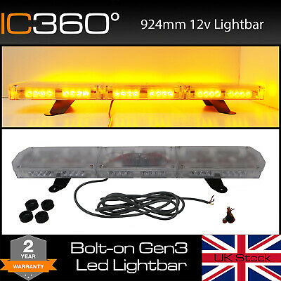 "IC360 Gemini 924mm Mini LED Recovery Narrow Lightbar Beacon Bolt Mount 36"" 3ft"