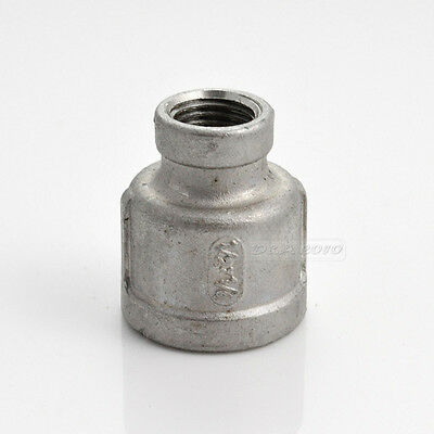 """1/2""""x1/4""""Female Nipple Threaded Reducer Pipe Fitting Stainless Steel 304 BSPT"""