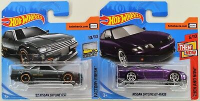 2018 Hot Wheels NISSAN SKYLINE R30 & GT-R R33 Gray & Purple - 2 Car - Short Card