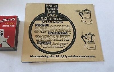 Birko Poach 'N' Percolate Drink heater Instruction sheet Jug Kitchen Kettle