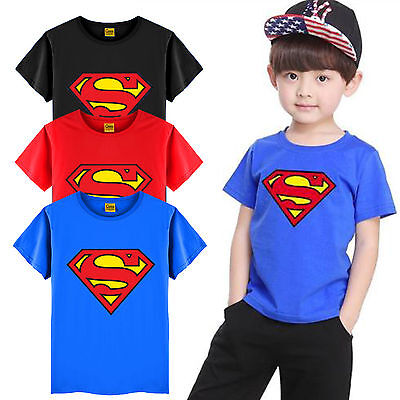 Kids Boys Superman T-Shirt Superhero Cartoon Tops Short Sleeve Tee Casual Outfit