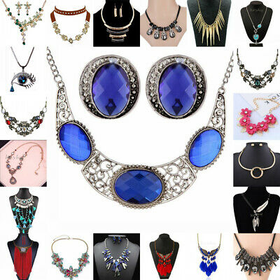Fashion Women Crystal Rhinestone Pendant Choker Statement Bib Necklace Jewelry