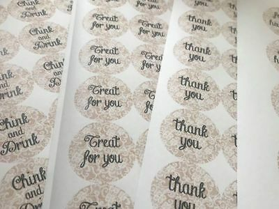 Antique lace effect stickers for favours, bottles, confetti bags, thank you note