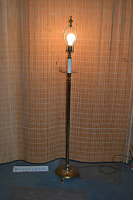 Victorian Vtg Antique Heavy Solid Brass Candle holder style Reading Floor Lamp
