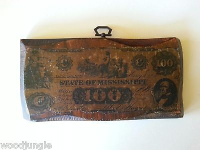 Antique Wood Wall Plaque Art State Of Mississippi Currency $100 Bill Folk