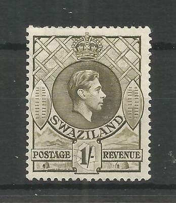 SWAZILAND 1943 GEORGE 6TH 1/- BROWN-OLIVE SG,35a M/MINT LOT 8297A
