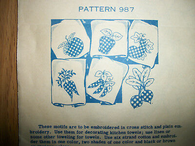 Vintage 1940's Laura Wheeler Embroidery Transfers Vegetables in Cross Stitch NEW