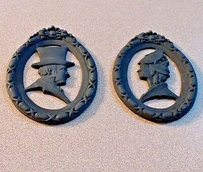 Vintage Pair Wilton Cast Iron Male and Female Silhouette Profiles Oval Plaque