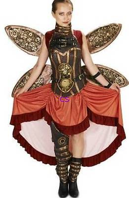 NWT $190-Super Deluxe 8 Piece Adult Womens Steampunk Halloween Costume-size M