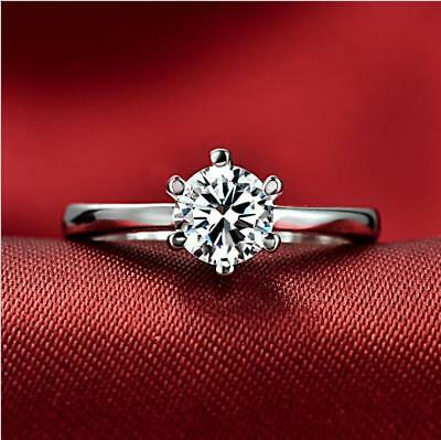 5 ct White Sapphire Claw Ring 10KT White Gold Filled Wedding Rings Band Size5-9