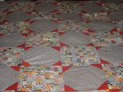 "Vintage/antique Hand Sewn  Postage Stamp Quilt Top 75"" X 86"""