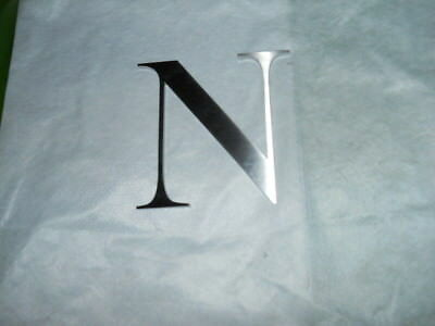 "Large 5 1/4"" X 5 1/4"" Brushed Stainless Steel Letter N left from Tiffany's sign"