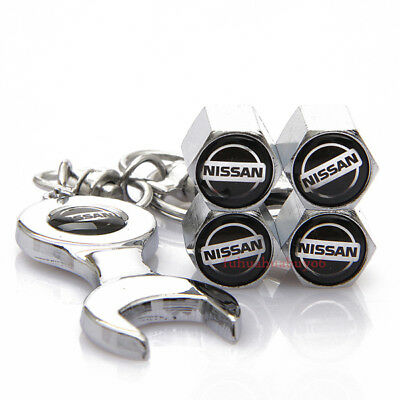 Car Accessories Tire Valve Caps Valve Dust Covers Wrench Keychain For Nissan