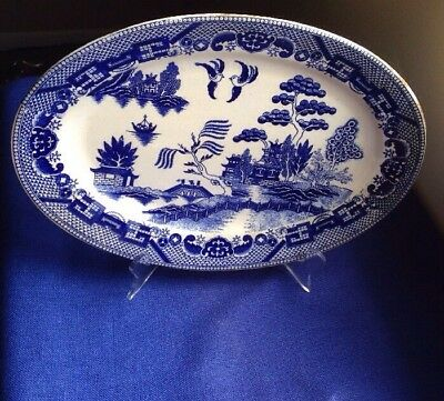 """Blue Willow 12 3/4"""" X 9"""" LARGE oval PLATTER Made in Japan Vintage"""