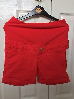 Ladies H&M Mama Maternity Over Bump Red Shorts Size Eur 38 /UK 10