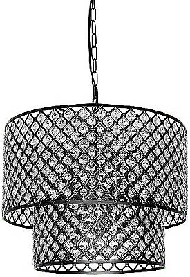 Anna Contemporary Antique Bronze 8-light Double Round Crystal Chandelier