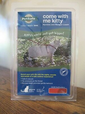 New! PetSafe COME WITH ME KITTY Cat Harness and Bungee Leash Medium Cranberry