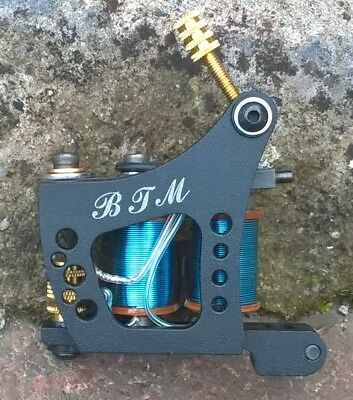 Border Tattoo Machine,packer Custom Iron Black Frame Custom 10 Layer Blue Coils