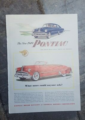 1949 print ad-The new Pontiac-Chieftain and Streamliner- Blue & red cars