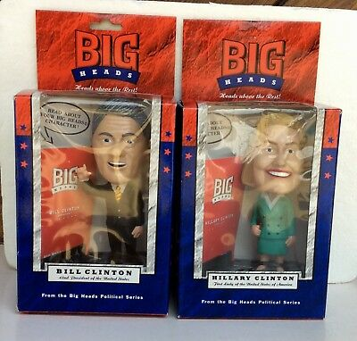 Bill And Hillary Clinton Big Heads Figures Set Of Two 1995 NRFB