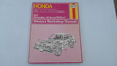 HONDA ACCORD 1977 ALL MODELS WORKSHOP MANUAL, Very nice.