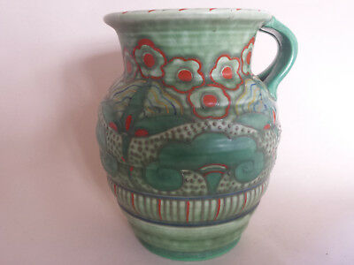 Unusual Art Deco Charlotte Rhead Crown Ducal Large Tubelined Jug