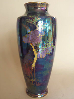 Stunning large unusual Art Deco Maling lustre Shoulder Vase with exotic birds