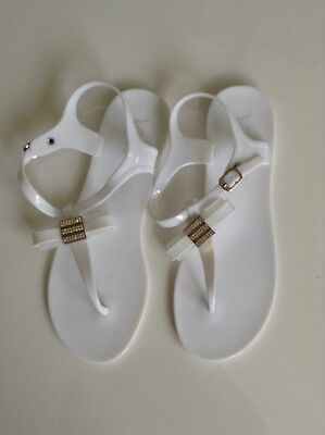 48c4cc590 Womens Ladies Toe Bow Diamante Jelly Summer Flat Flip Flop Thong Sandals  Size 40