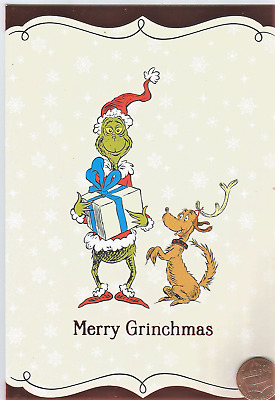 Merry Grinchmas Grinch Max Dog Dr Seuss - RED SHINE Christmas Greeting Card  NEW