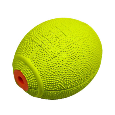 Pet Toy Squeeze Ball Natural Rubber Rugby Design with Sound for Dogs Cats GREEN