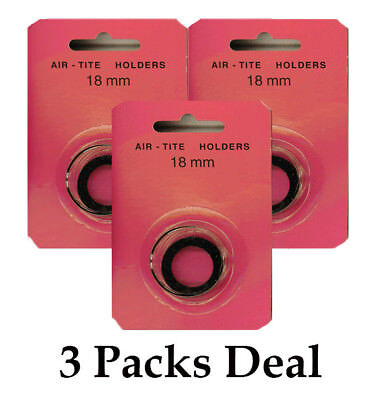 3 AirTite BLACK Ring Capsules Coins 18mm For Nickel Three Cent, Gold $2 1/2 NEW