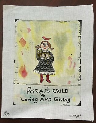 Sunday's Child-Maggie-Handpainted Needlepoint Canvas