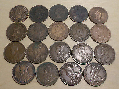 Canada Large Cents 19 Coins Plus Newfoundland