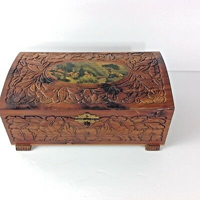 Vintage Cedar Box Handmade Carved  Countryside Decal Jewelry Trinket Wooden Box
