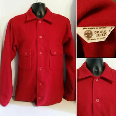 Vintage Boy Scouts Of America Official Red Wool Jacket Shirt Coat Mens 44 Tall