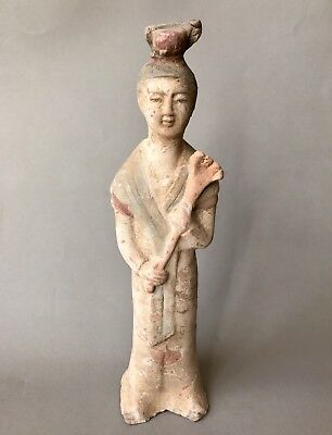 Ancient China Tang Dynasty Terracotta Attendant Lady Figure With Original Paint