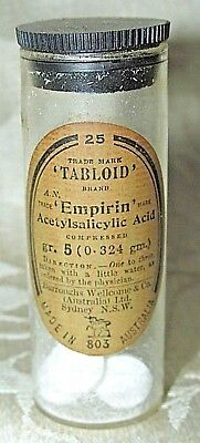Antique Bottle & Contents Tabloid Pills Empirim Burroughs Wellcome & CO Sydney