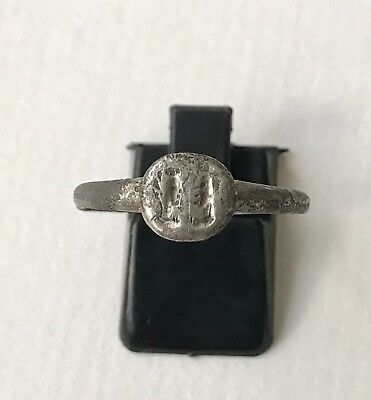 Ancient Byzantine Silver Ring With Two Opposed Saints U.K. Size: R1/2