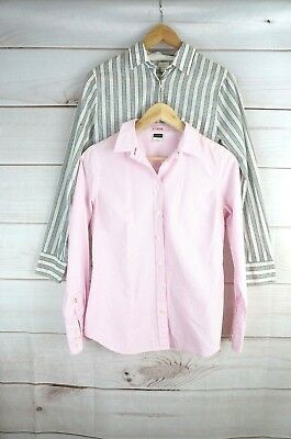 Lot Of 2 Womens J Crew XS Classic Dress Shirts Pink striped Fitted Shirt Blouse