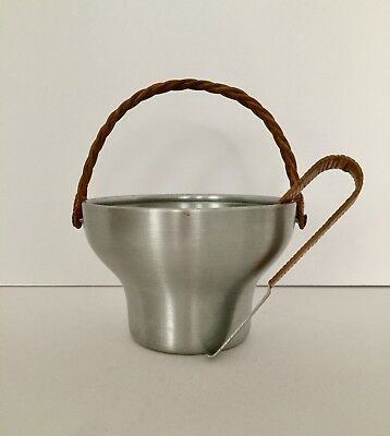 Russel Wright Spun Aluminum Ice Bucket And Tongs