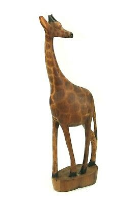 "WOODEN Hand Carved GIRAFFE 12"" Tall Folk Art Africa Animal Wood Block Base"