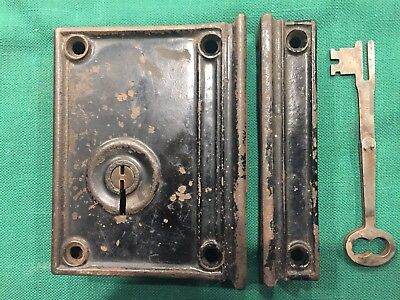Antique Cast Iron Rim / Box Lock /w Folding Key - Penn Hardware Company