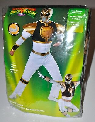 White Power Rangers Men's Halloween Costume Jumpsuit W/ Muscles Only Size XL