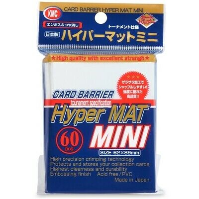 1 x KMC MINI HYPER MAT WHITE Card Barrier Protector Sleeves 60ct Fit Yugioh