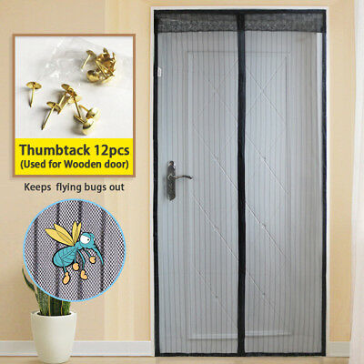 Magnetic Screen Door with Full Frame Hook Mesh Keep Flying Bugs Mosquito Out
