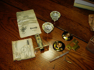 Antique Vintage Crystal Glass Doorknob W/ Hardware Architectural in BOX